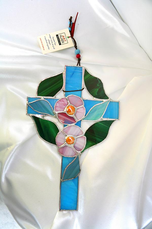 Σταυρός Βιτρώ Λουλούδια 3894